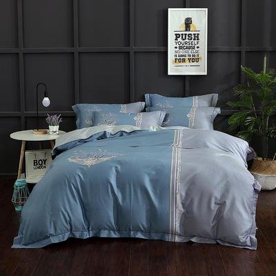 长绒棉印花  宽边系列 标准(200*230cm) 安娜 蓝
