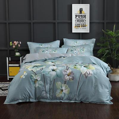 长绒棉印花  宽边系列 标准(200*230cm) 浮香 绿