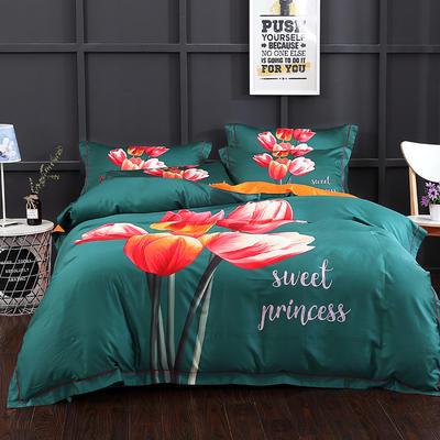 长绒棉印花  宽边系列 标准(200*230cm) 索菲亚 绿