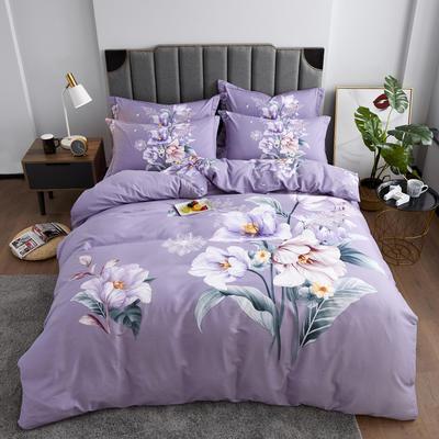 2019 新品磨毛 花卉系列 标准(200*230) 婉约紫