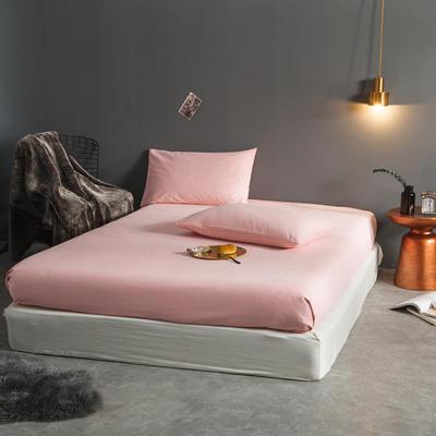 纯色磨毛  单床笠+ 枕套 枕套一对装 粉沫玉