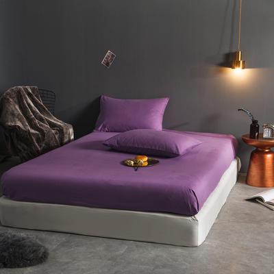 纯色磨毛  单床笠+ 枕套 枕套一对装 千寐紫