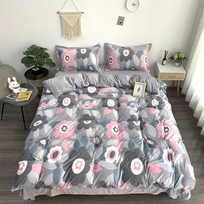 2019新款-水晶绒四件套 床单款1.5m(5英尺)床 放飞心情  灰