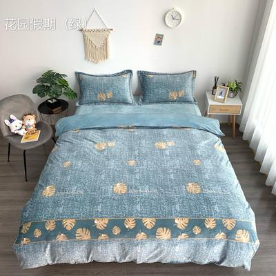 2019新款-水晶绒四件套 床单款1.5m(5英尺)床 花园假期