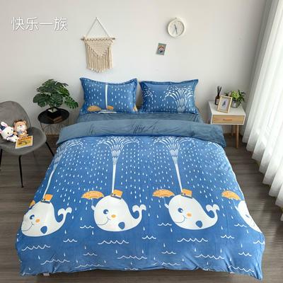 2019新款-水晶绒四件套 床单款1.5m(5英尺)床 快乐一族