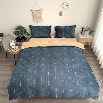 2019新款-水晶绒四件套 床单款1.5m(5英尺)床 浪漫生活  炫蓝