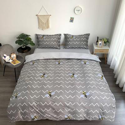 2019新款-水晶绒四件套 床单款1.5m(5英尺)床 小蜜蜂 灰