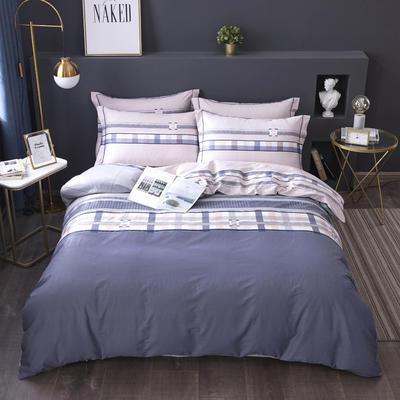 2020新款-格子卡通系列四件套 床单款1.5m(5英尺)床 蓝梦城市