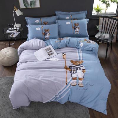 2020新款-格子卡通系列四件套 床单款1.5m(5英尺)床 曼哈顿 蓝