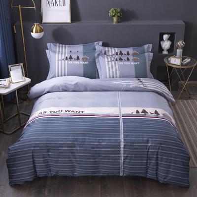 2020新款-格子卡通系列四件套 床单款1.5m(5英尺)床 妙曼人生