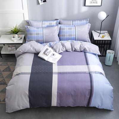 2020新款-格子卡通系列四件套 床单款1.5m(5英尺)床 摩卡人生