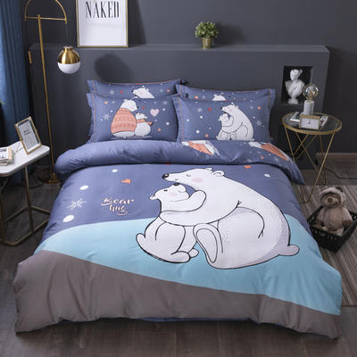 2020新款-格子卡通系列四件套 床单款1.5m(5英尺)床 陪伴