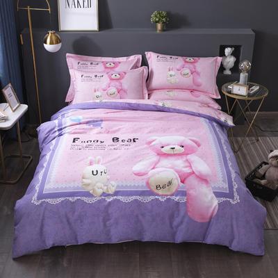 2020新款-格子卡通系列四件套 床单款1.5m(5英尺)床 趣味熊