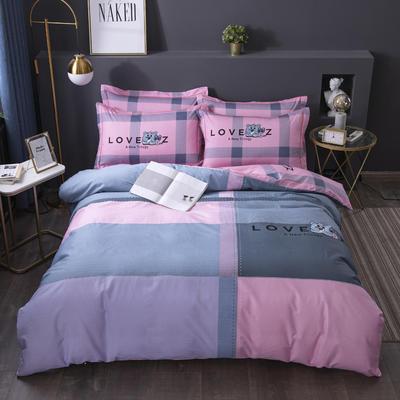 2020新款-格子卡通系列四件套 床单款1.5m(5英尺)床 小甜心