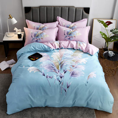 2020新款-花卉大版花四件套 床单款1.5m(5英尺)床 淡雅情怀 兰