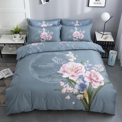 2020新款-花卉大版花四件套 床单款1.8m(6英尺)床 花娇百媚