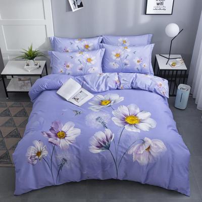 2020新款-花卉大版花四件套 床单款2.0m(6.6英尺)床 花语晴空 紫