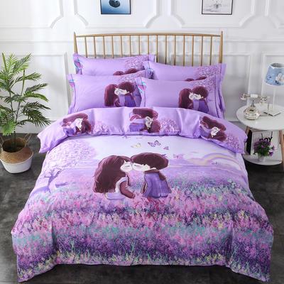 2020新款-花卉大版花四件套 床单款1.5m(5英尺)床 悄悄爱