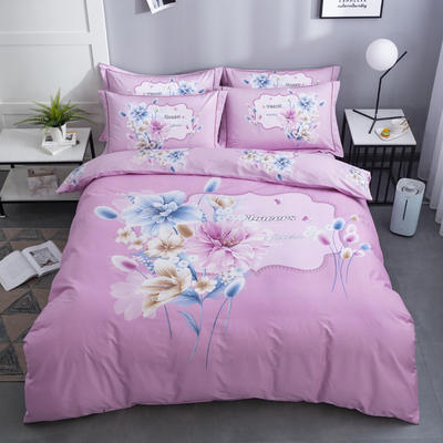 2020新款-花卉大版花四件套 床单款1.5m(5英尺)床 清新淡雅 粉