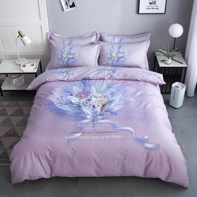 2020新款-花卉大版花四件套 床单款1.5m(5英尺)床 如梦令 紫