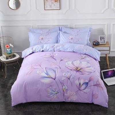 2020新款-花卉大版花四件套 床单款1.8m(6英尺)床 苏美尔 紫