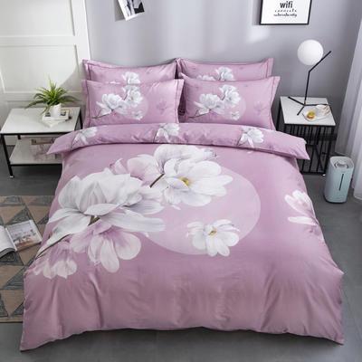 2020新款-花卉大版花四件套 床单款1.8m(6英尺)床 万紫千红  粉