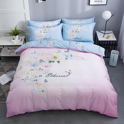 2020新款-花卉大版花四件套 床单款1.8m(6英尺)床 舞清风 粉