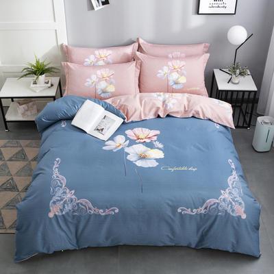 2020新款-花卉大版花四件套 床单款1.8m(6英尺)床 心随花开