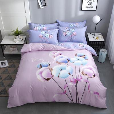 2020新款-花卉大版花四件套 床单款1.8m(6英尺)床 幸福爱恋 粉