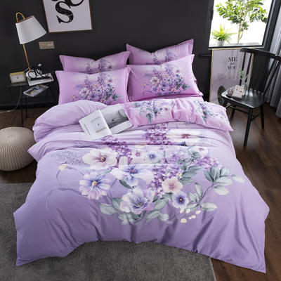 2020新款-花卉大版花四件套 床单款1.5m(5英尺)床 烟雨霓裳