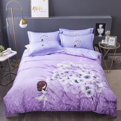 电子图 2020新款-第二批大版花 床单款1.5m(5英尺)床 蒲公英的回忆 紫