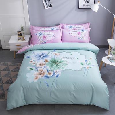 电子图 2020新款-第二批大版花 床单款1.5m(5英尺)床 清新淡雅 绿