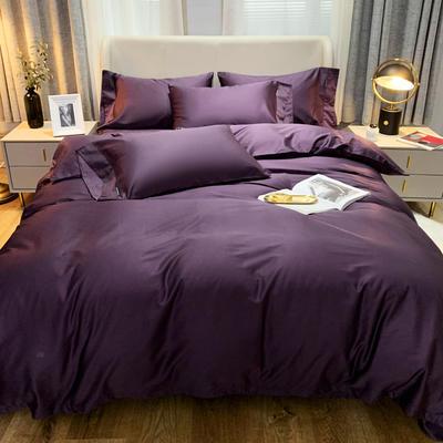 2020 纯色 长绒棉四件套 加大(220*240) 冷艳紫