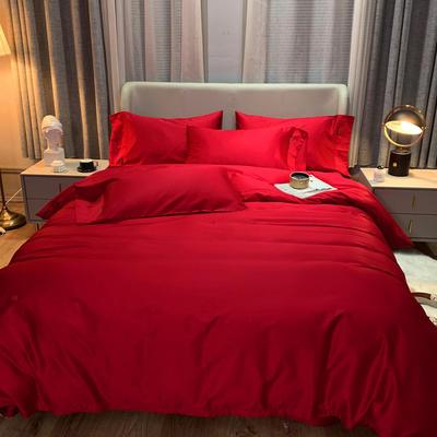2020 纯色 长绒棉四件套 加大(220*240) 骑士红