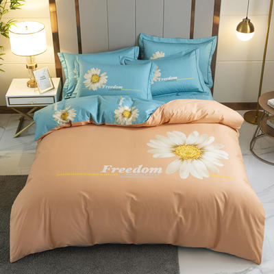 电子图  全棉新款 大版花 1.5床笠款  标准被套 冰清玉洁  桔