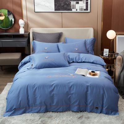 80S长绒棉 刺绣款 一鹿有你 2.0m(6.6英尺)床 蓝灰