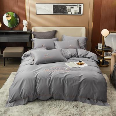80S长绒棉 刺绣款 一鹿有你 2.0m(6.6英尺)床 亦凡灰