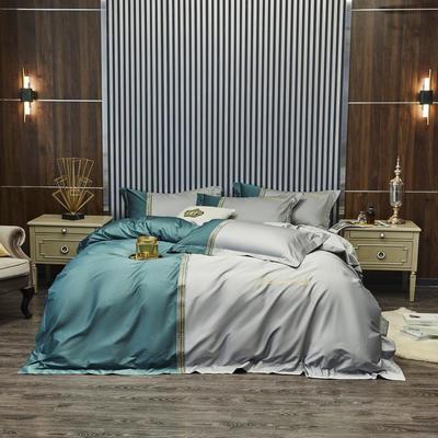 100S 长绒棉澳棉双拼刺绣 套件 2.0m(6.6英尺)床 格调-绿