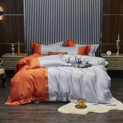 100S 长绒棉澳棉双拼刺绣 套件 2.0m(6.6英尺)床 格调-橙