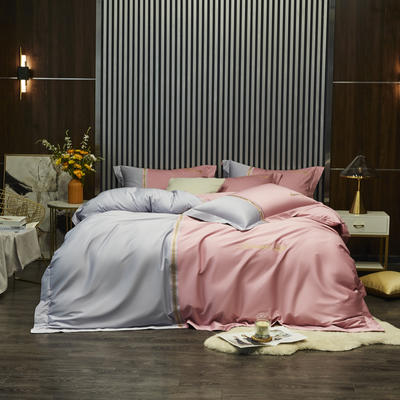 100S 长绒棉澳棉双拼刺绣 套件 2.0m(6.6英尺)床 格调-粉