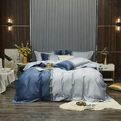 100S 长绒棉澳棉双拼刺绣 套件 2.0m(6.6英尺)床 格调-蓝