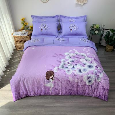 秋冬 全棉大版新款  上新 加大(220*240) 蒲公英的回忆 紫