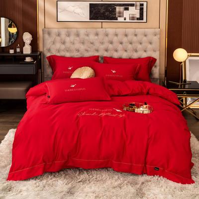 80S长绒棉 刺绣款 一鹿有你 2.0m(6.6英尺)床 紫嫣红