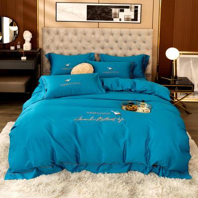 80S长绒棉 刺绣款 一鹿有你 2.0m(6.6英尺)床 宝石蓝
