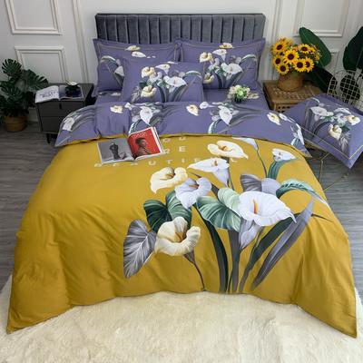 2021 全棉磨毛 花卉款  (更新中) 标准款 被套200*230 床单245*250 玉娆  黄