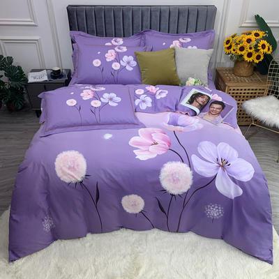 2021 全棉磨毛 花卉款  (更新中) 标准款 被套200*230 床单245*250 烟暖初妆 紫