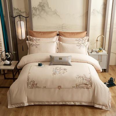 2020新款60长绒棉中式四件套 1.8m床单款四件套 繁花似锦-米