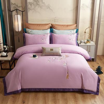 2020新款60长绒棉中式四件套 1.8m床单款四件套 如花似锦-紫