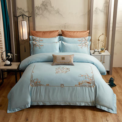 2020新款60长绒棉中式四件套 1.8m床单款四件套 繁花似锦-浅蓝
