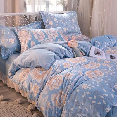 2019新款6D雕花绒四件套 1.5m床单款 花颜-青蓝色